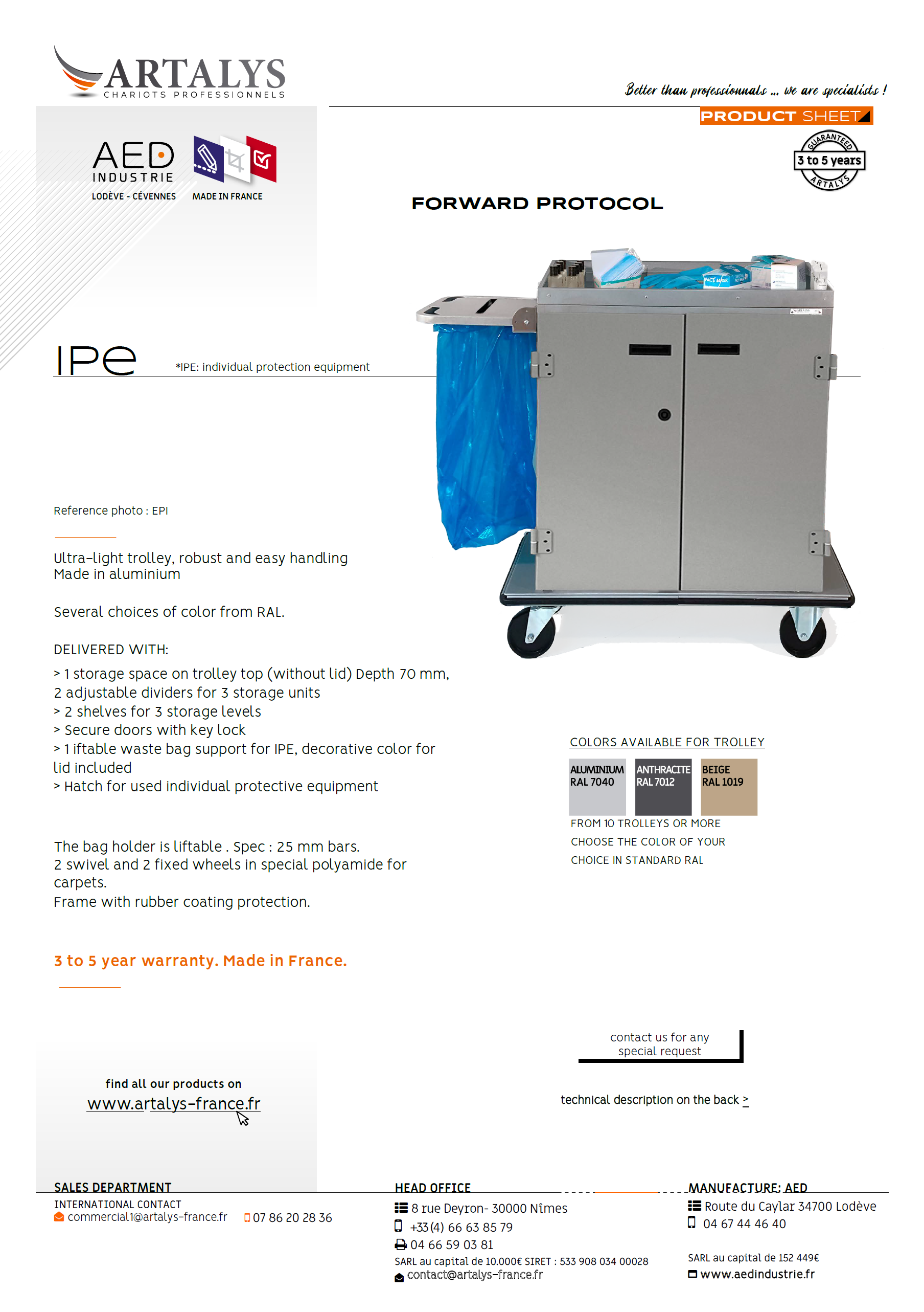 Product sheet of our IPE disinfection trolley