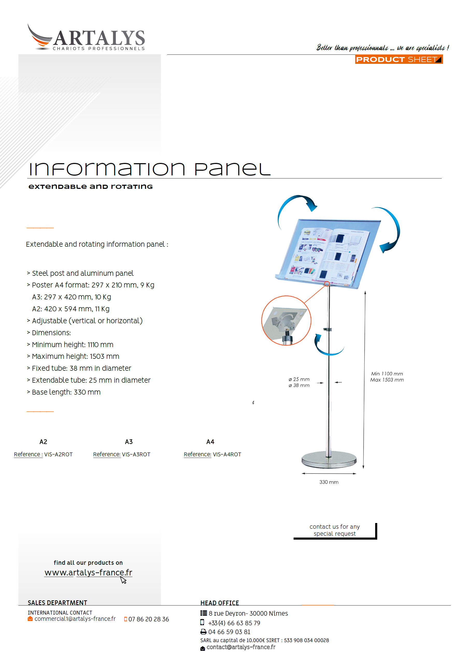 Product sheet of our information panel extendable and rotating