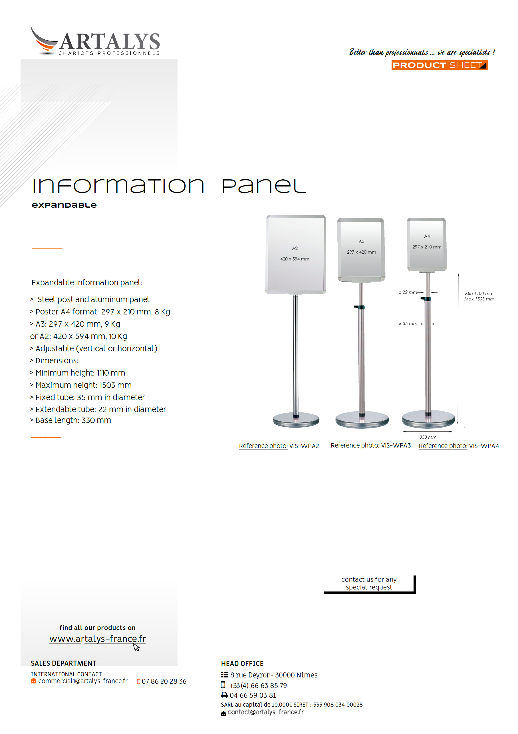 Product sheet of our information panel expandable