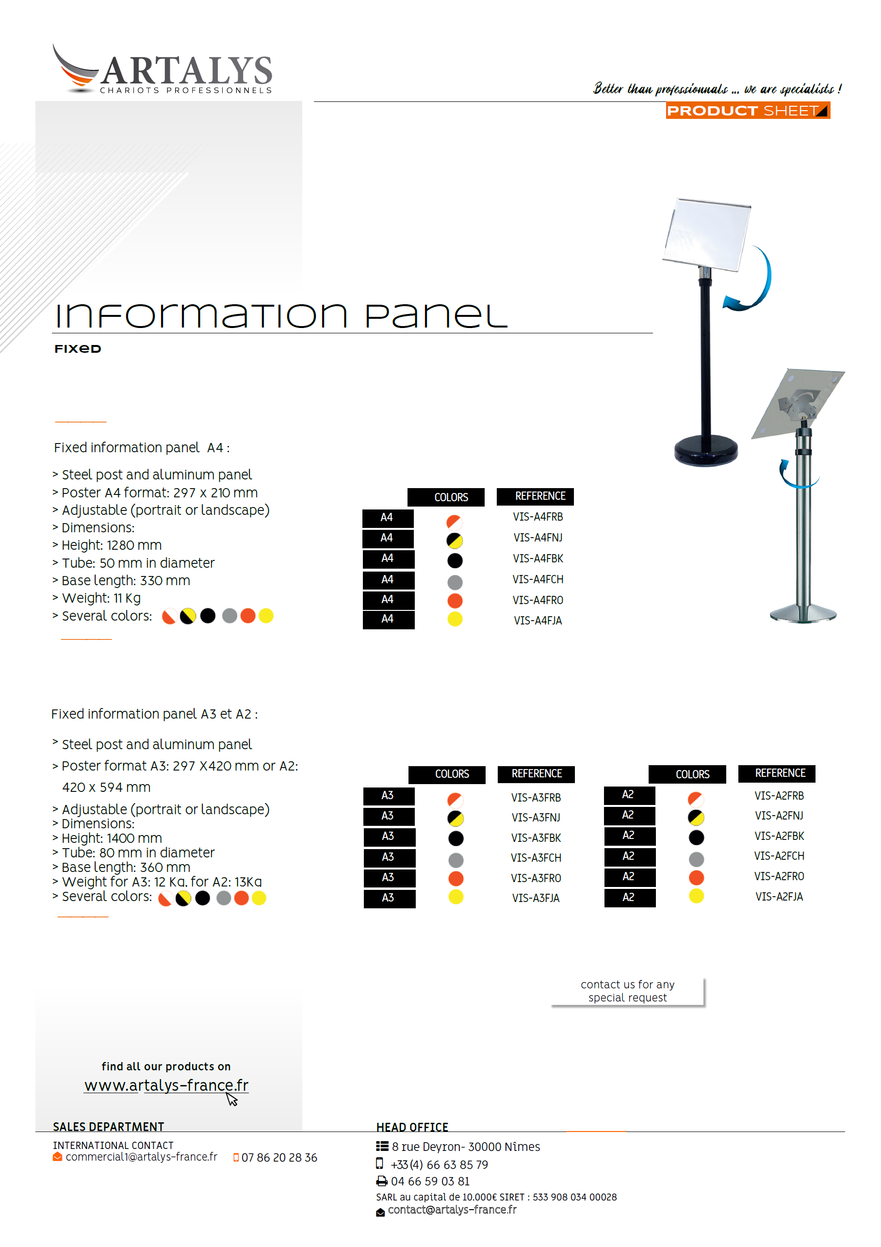 Product sheet of our information panel fixed