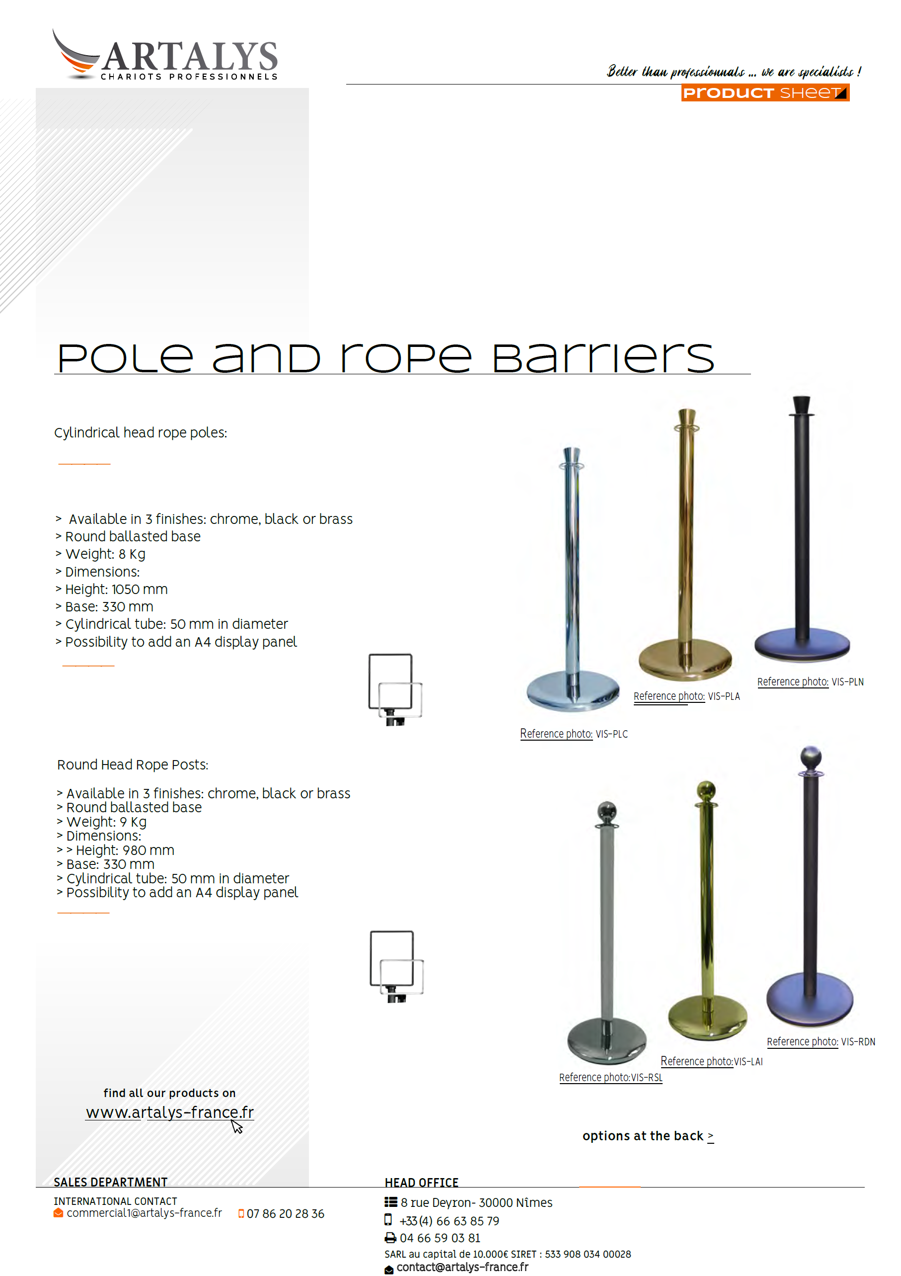 Product sheet of our pole and rope barriers