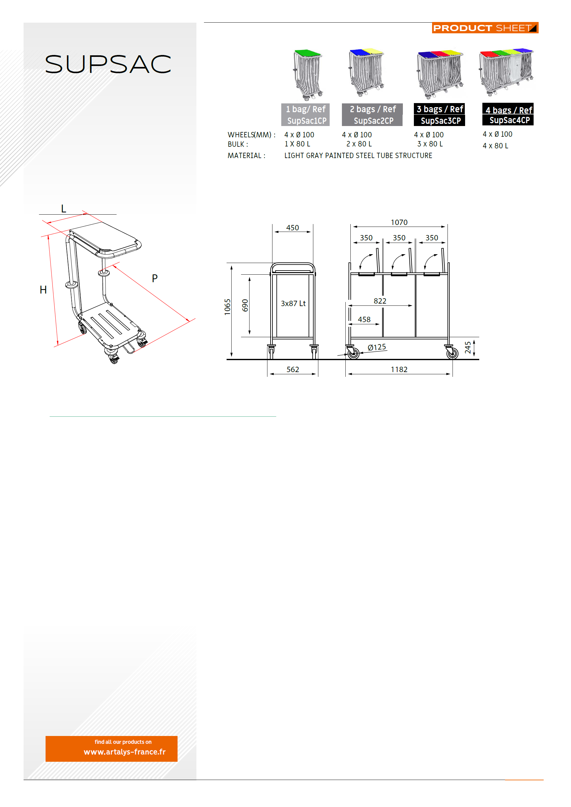 Product sheet of our Supsac lingerie trolley