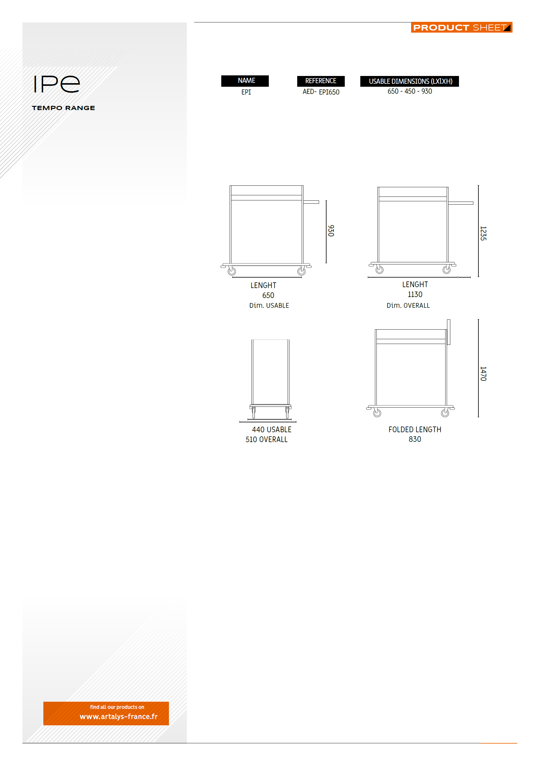 Product sheet IPE disinfection trolley