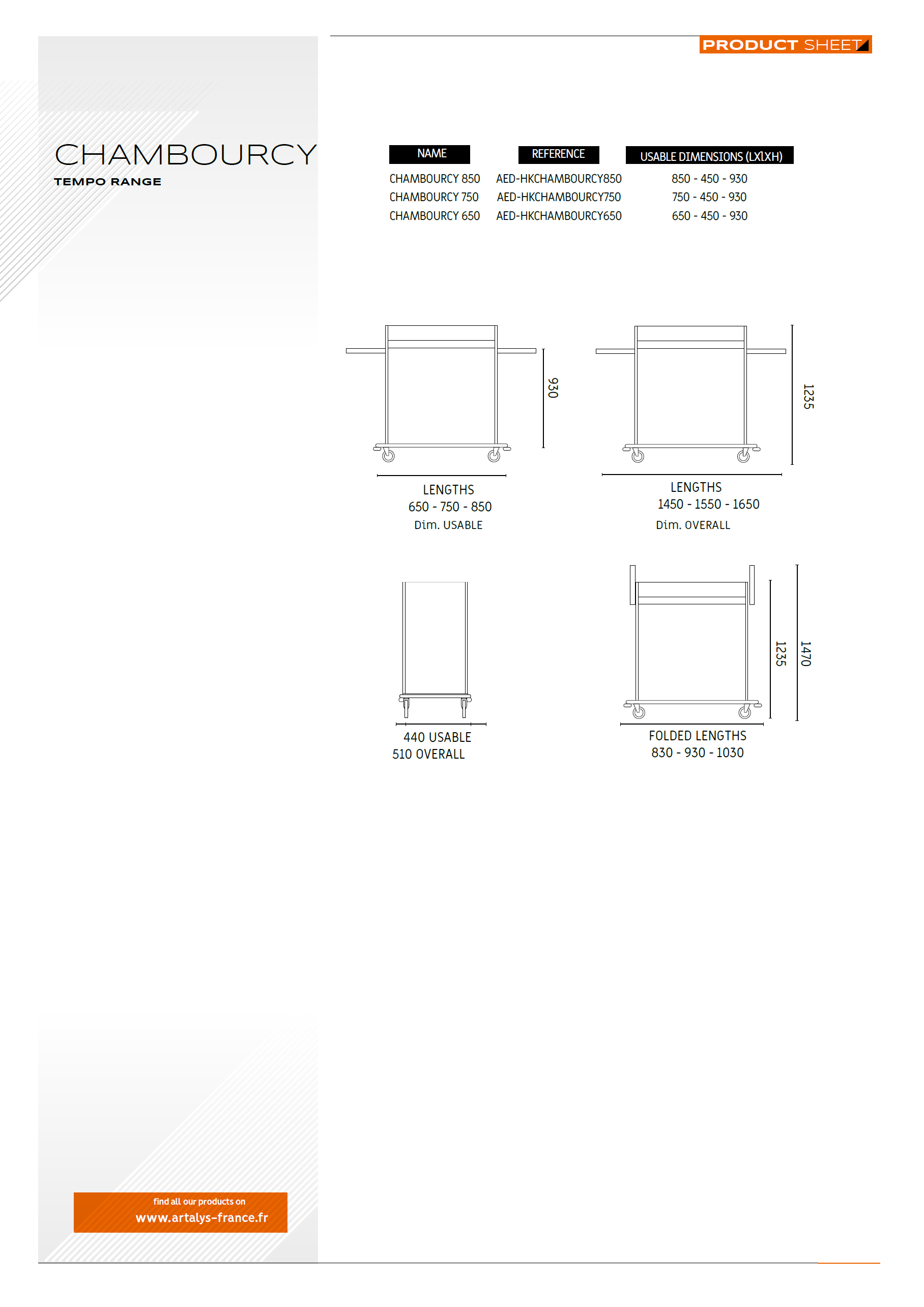 Product sheet of the hotel trolley chambourcy