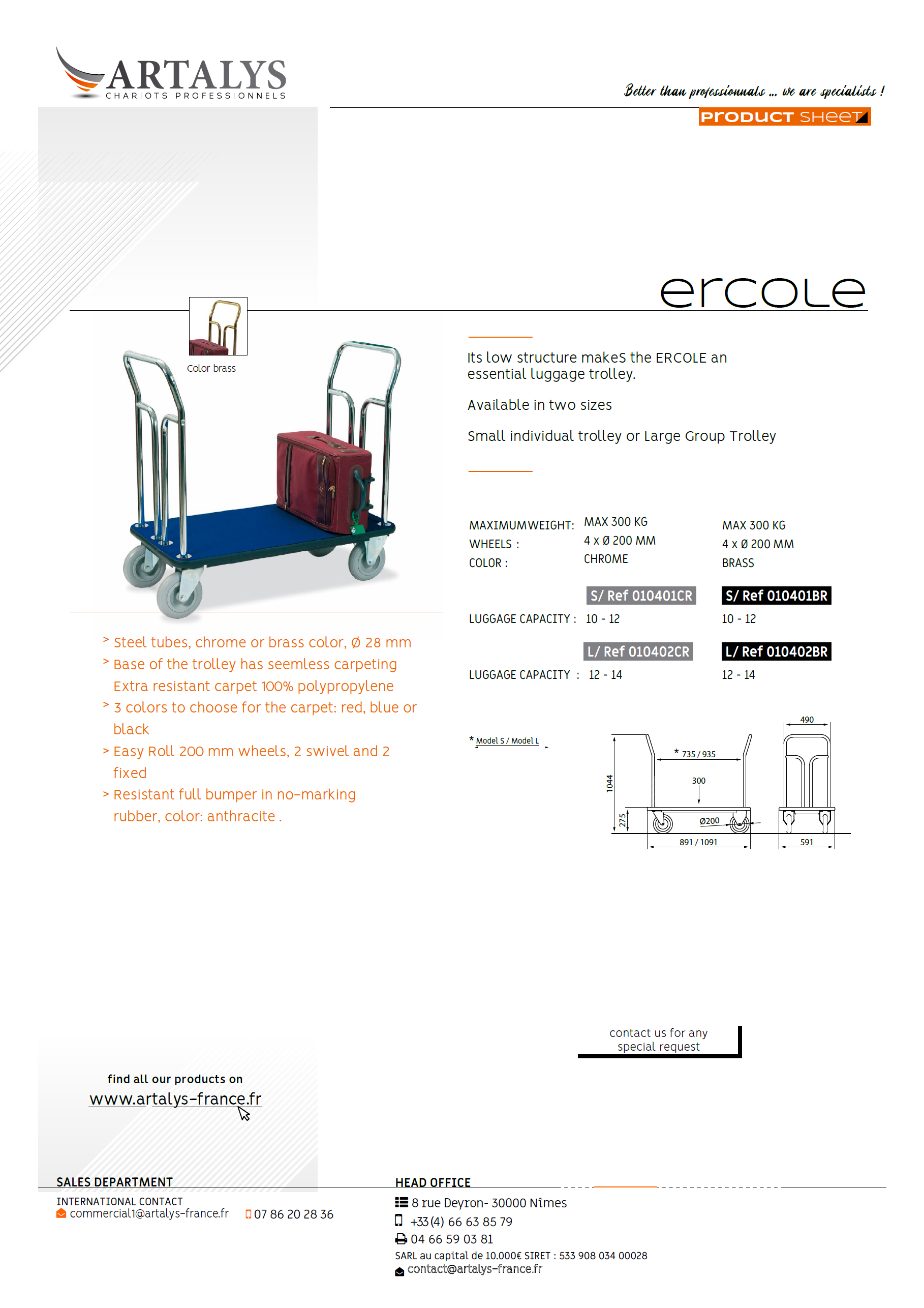 Product sheet of the ercole luggage trolley