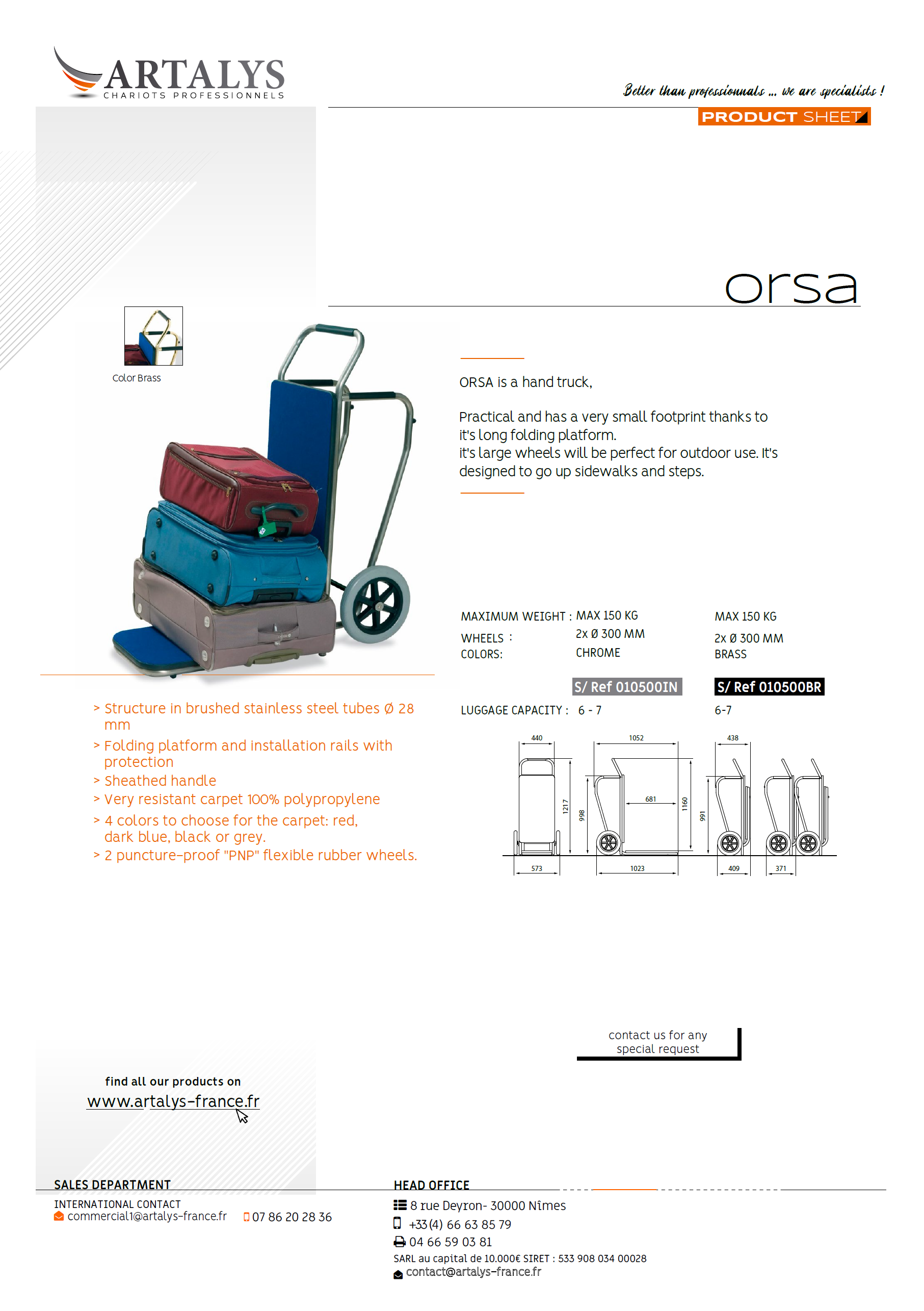 Product sheet of our Orsa luggage trolley