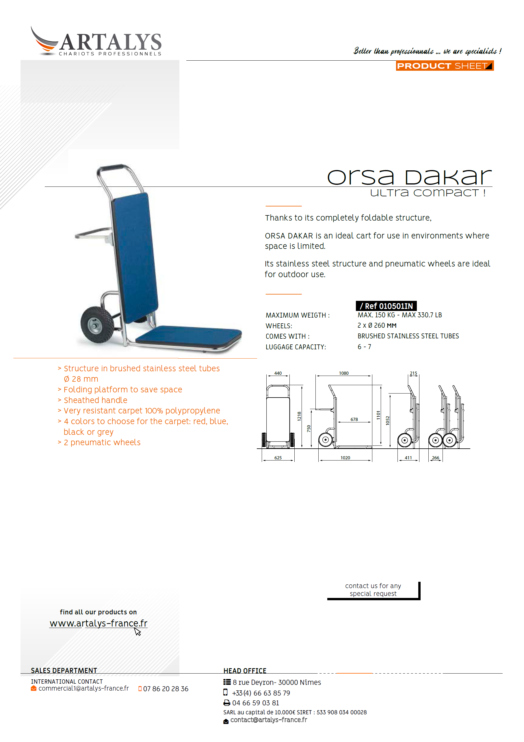 Product sheet of our luggage trolley Orsa Dakar
