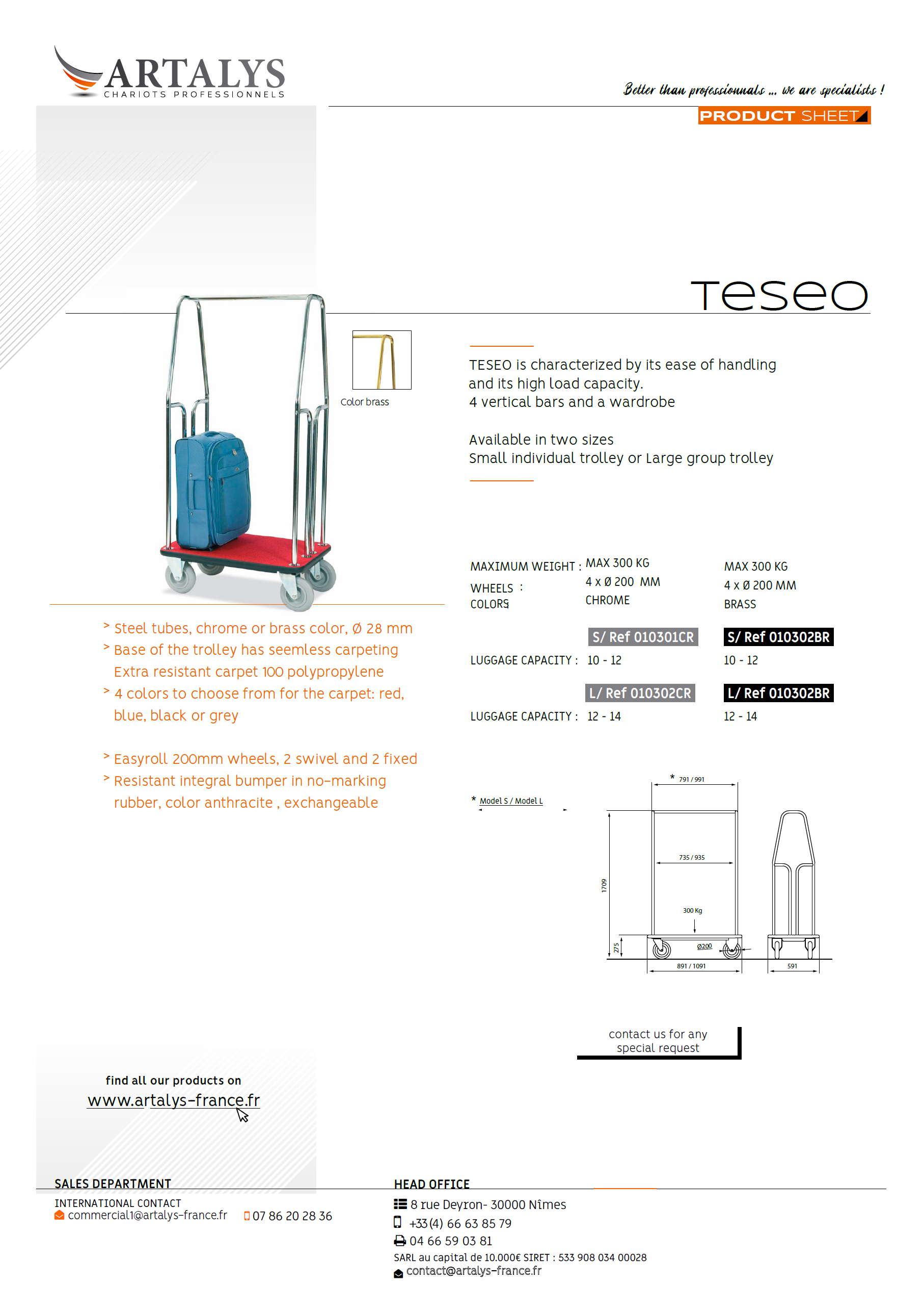 Product sheet of our luggage trolley Teseo