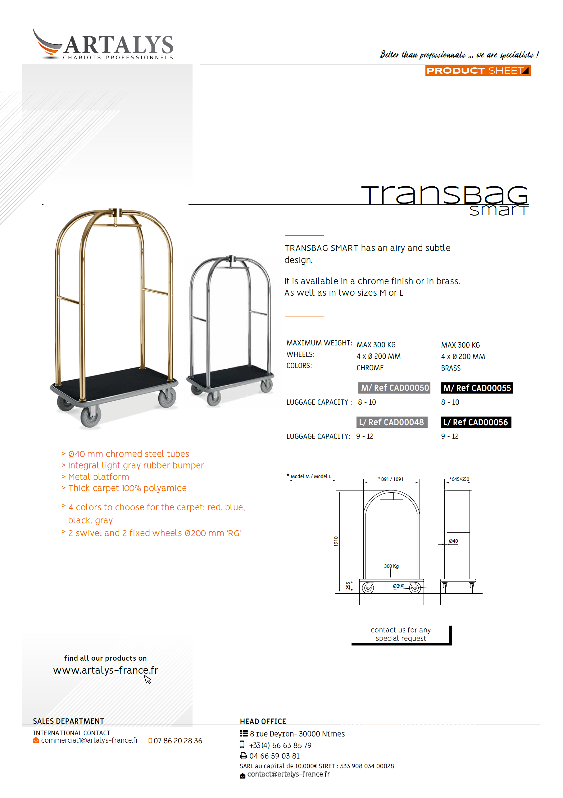 Product sheet of our Transbag Smart luggage trolley