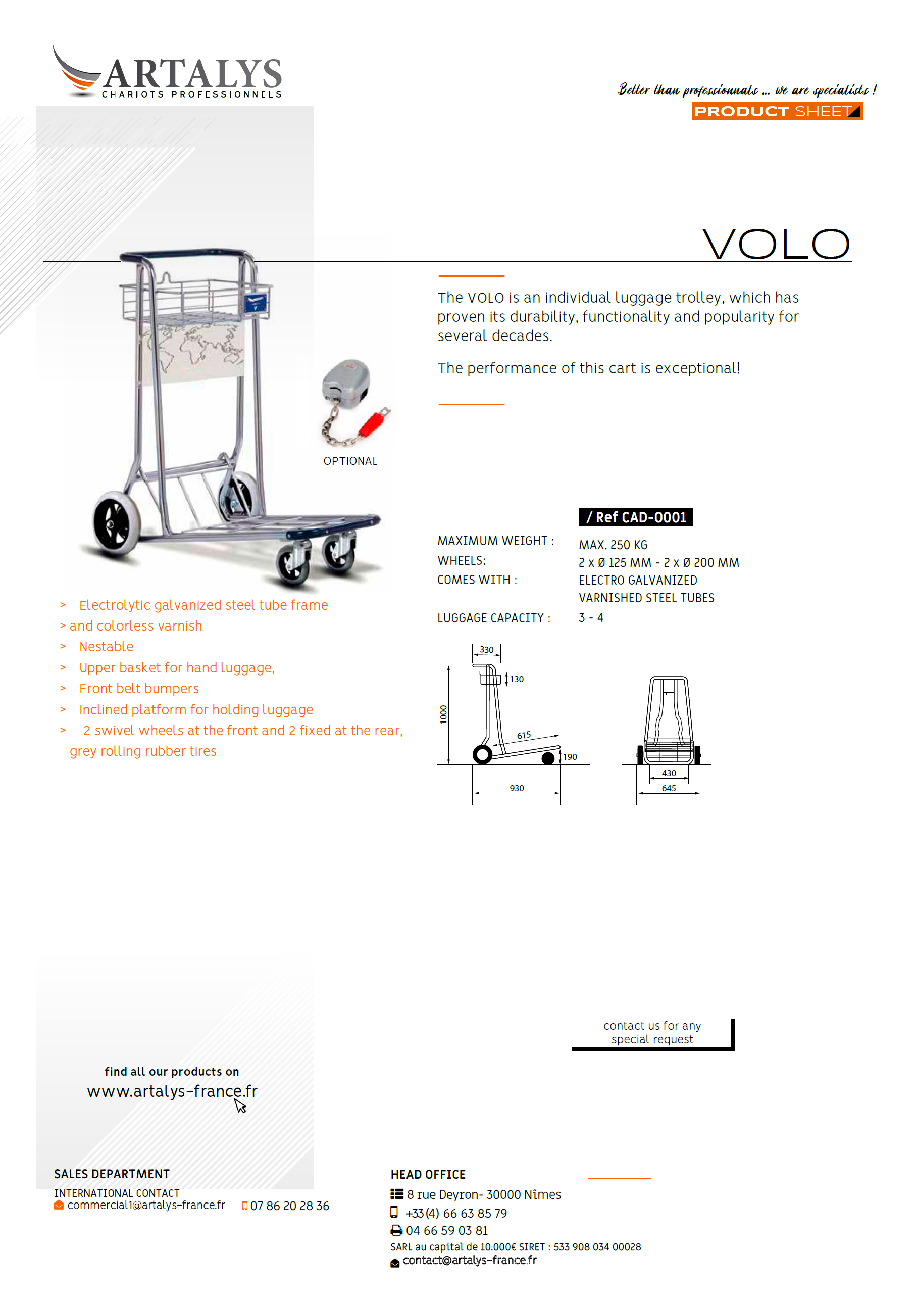 Product sheet of our luggage trolley volo