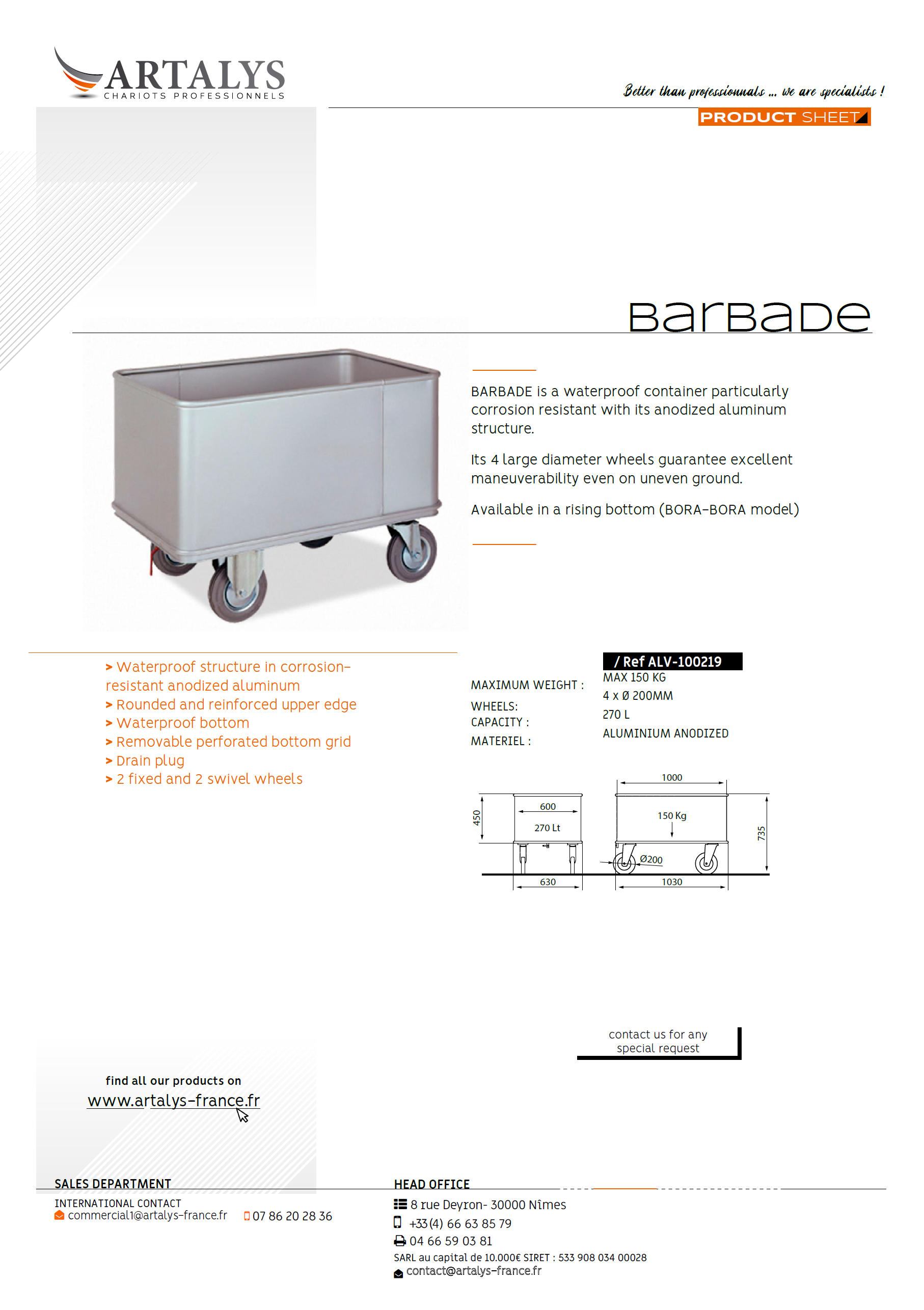 Product sheet of our barbade lingerie trolley