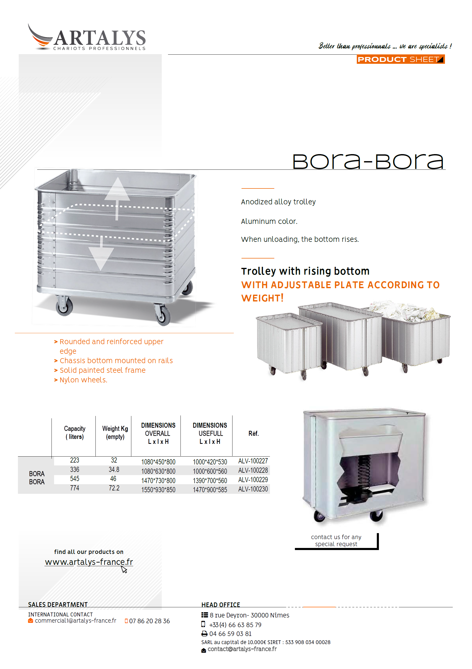 Product sheet of our BoraBora lingerie trolley