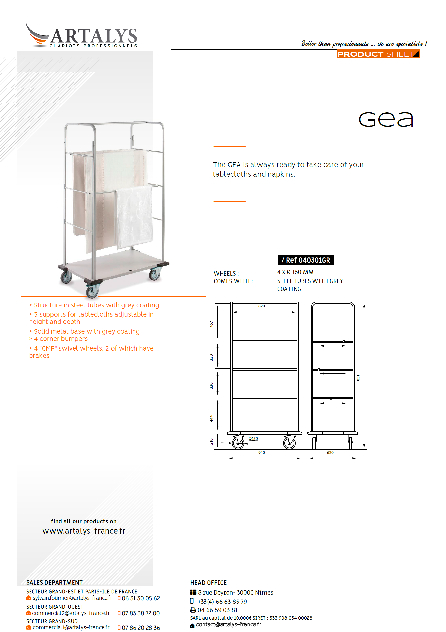 Product sheet of the GEA catering trolley