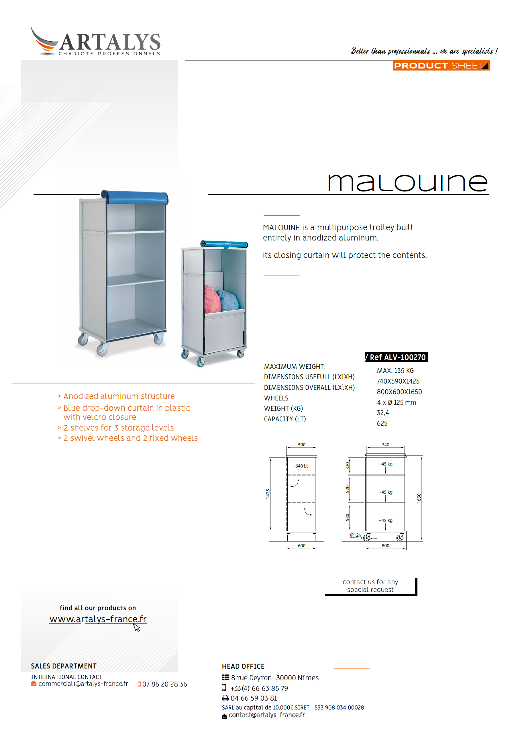 Product sheet of our Malouine lingerie trolley
