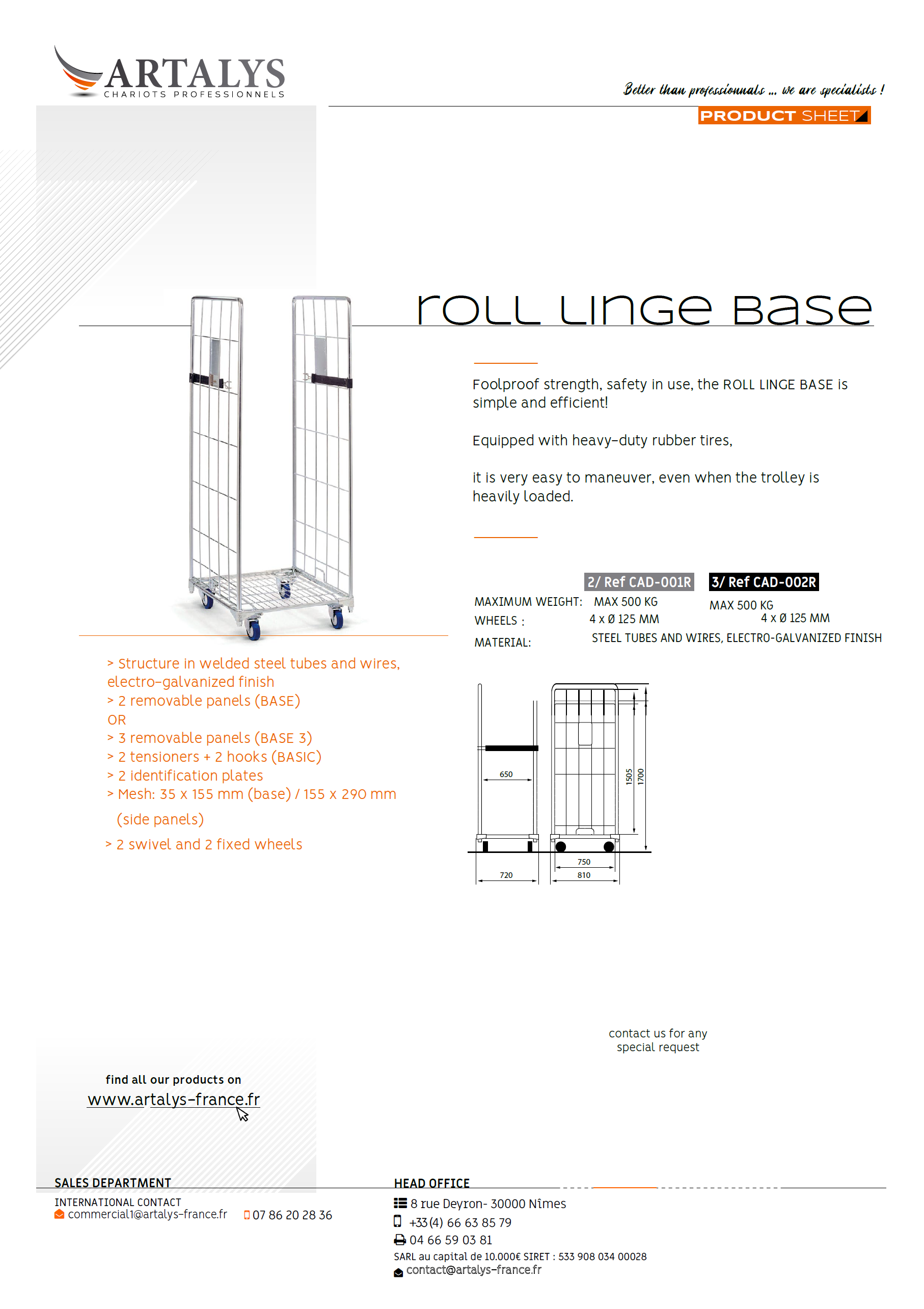 Product sheet of our Roll Base lingerie trolley