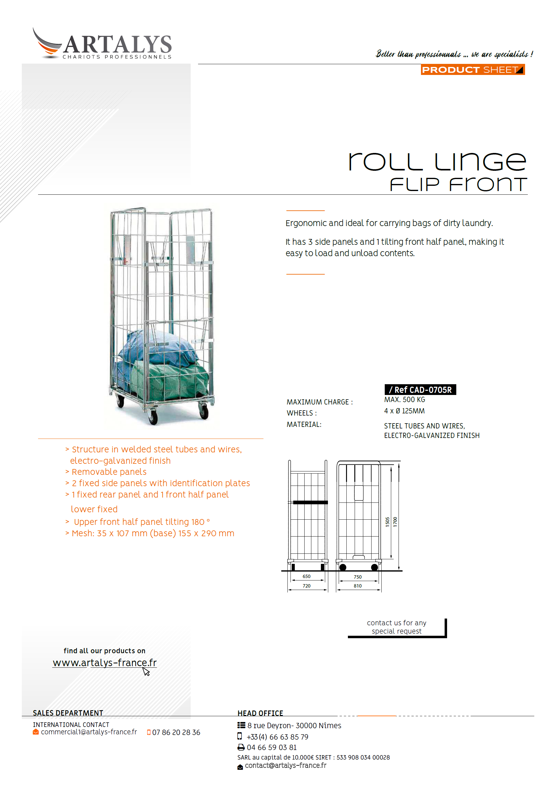 Product sheet of our roll flip front lingerie trolley