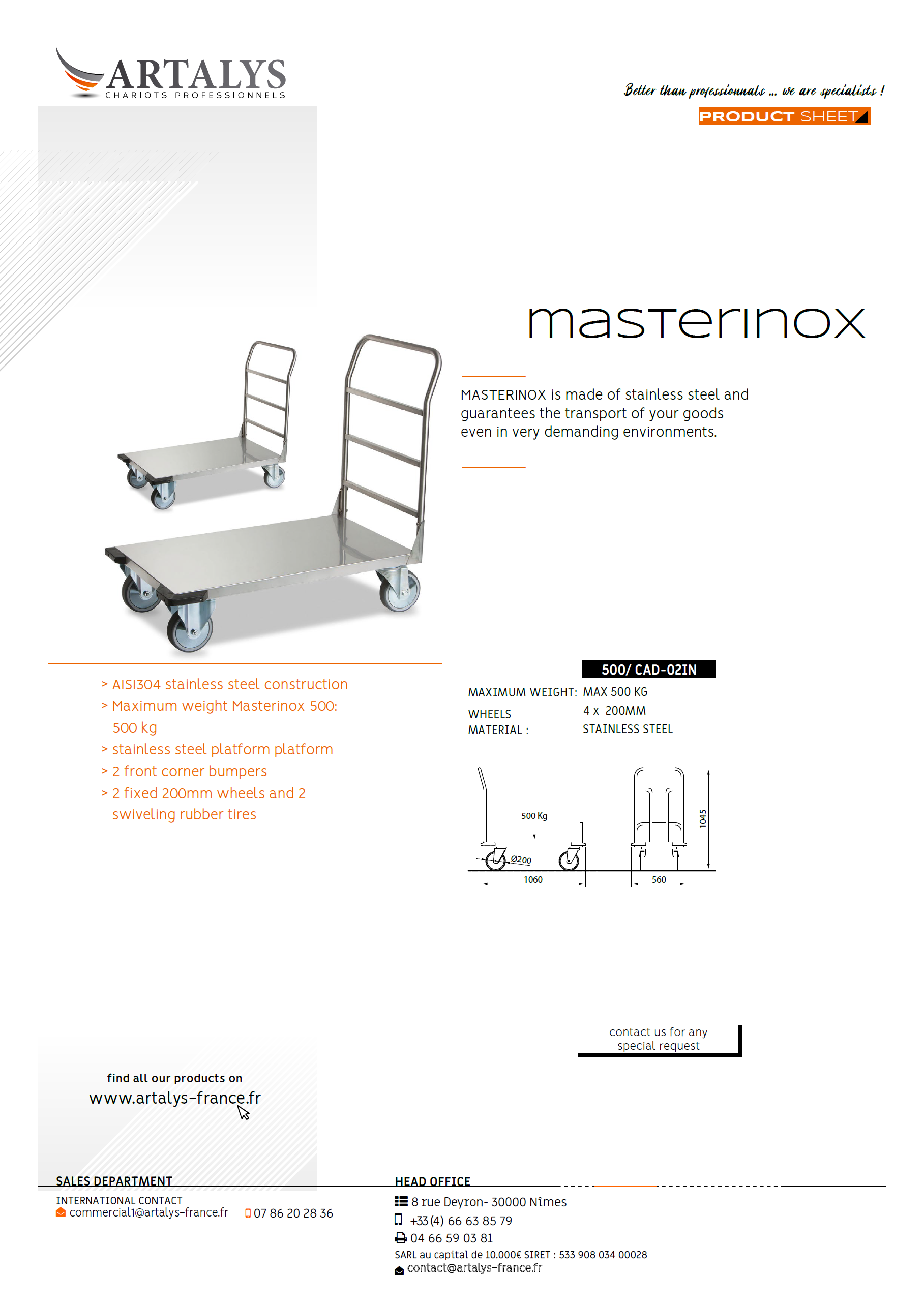 Product sheet of our masterinox stewardship trolley