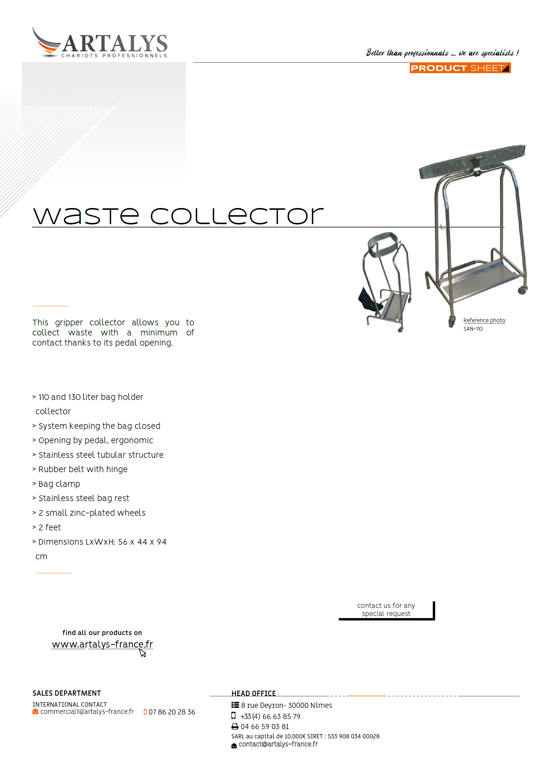 Product sheet of our waste collector