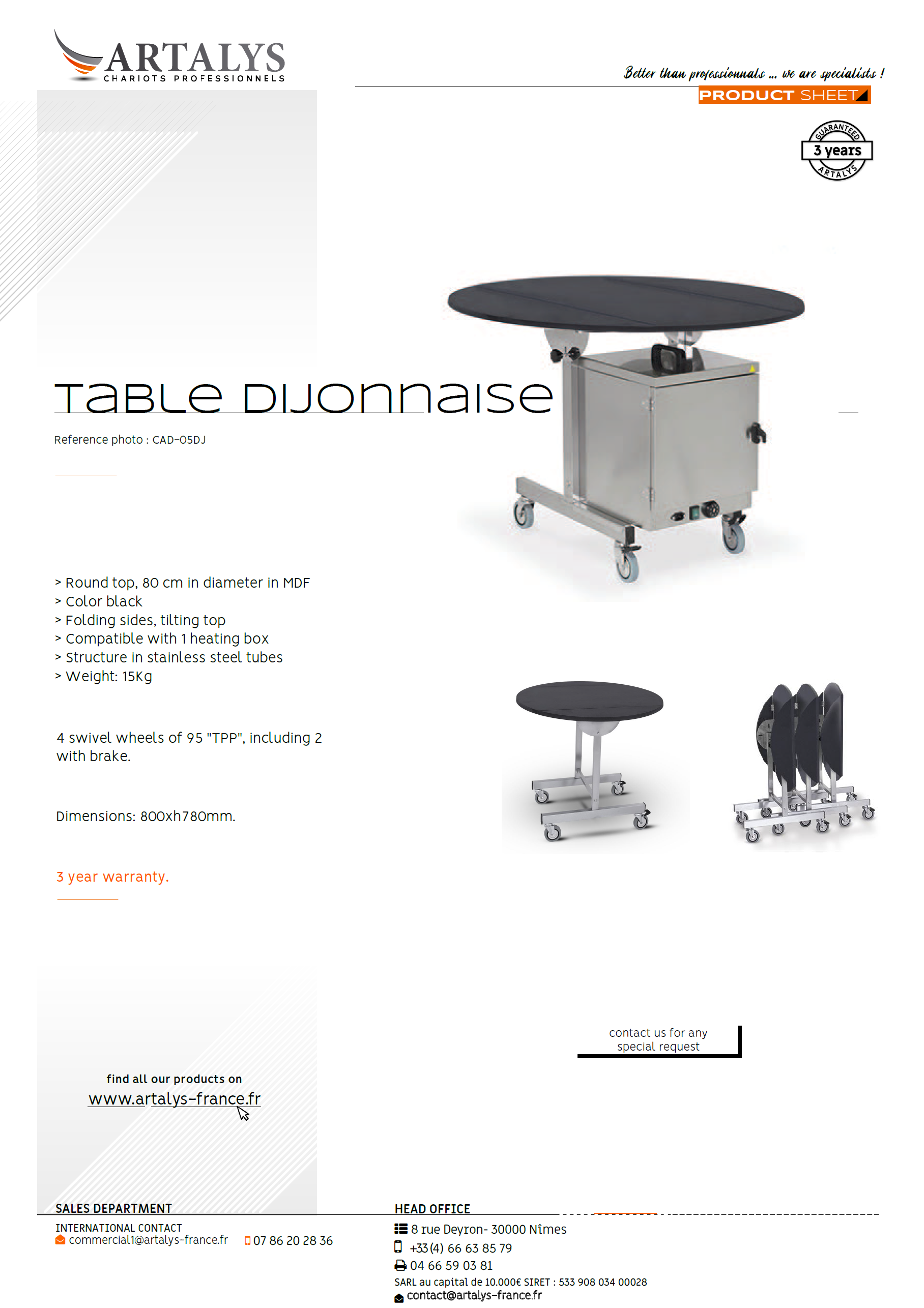 Product sheet of the Dijonnaise room-service table