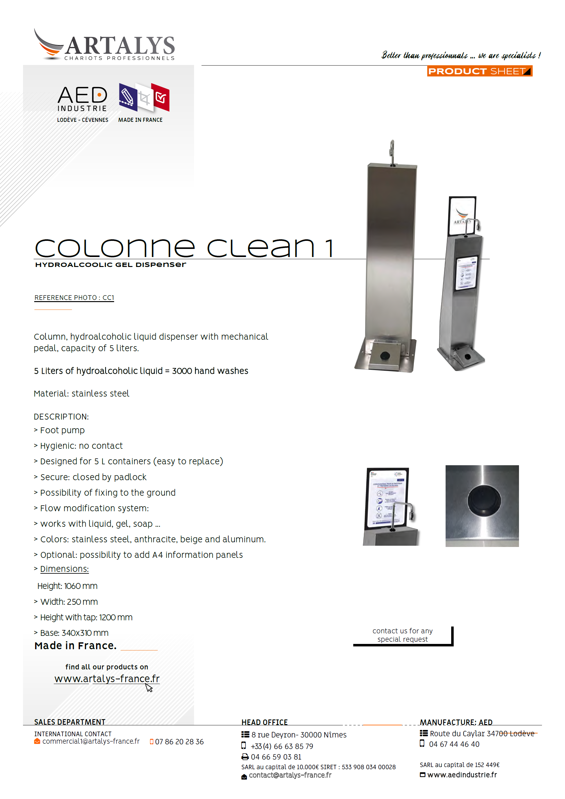 Product sheet of our hydroalcoholic liquid dispenser